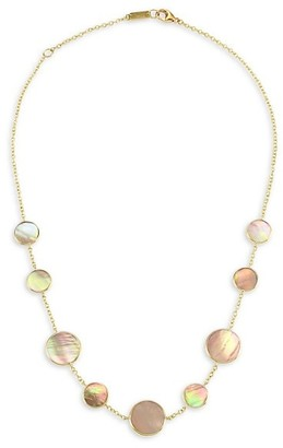 Ippolita Polished Rock Candy Short 18K Yellow Gold & Brown Shell Station Necklace