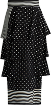 Stella McCartney Stripe and polka-dot print silk skirt