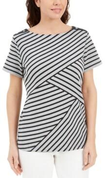 Karen Scott Plus Size Asymmetrical Striped Top, Created for Macy's
