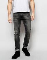 Nudie Jeans Skinny Lin Super Skinny Fit Night Blizz Washed Black