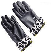 LUNIWEI Women PU Leather Winter Outdoor Motorcycle Ski Touch Screen Gloves