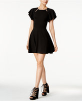 Bar III Cutout Crepe Fit & Flare Dress, Created for Macy's