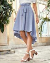 LINZA Striped drop hem cotton skirt