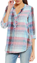 Intro 3/4 Sleeve Ruffle Front Detail Plaid Print Top