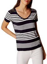 Karen Millen Stripe Studded T-Shirt, Blue/Multi