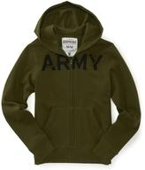 Aeropostale Army Fleece Full-Zip Hoodie