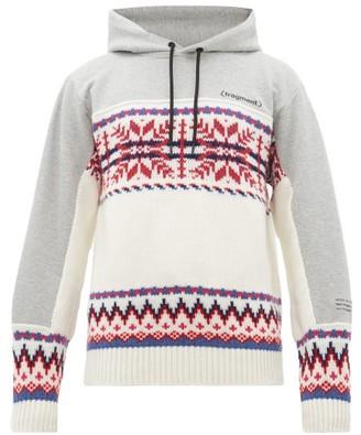 Fragment 7 Moncler Hiroshi Fujiwara - Intarsia Wool-blend And Jersey Hooded Sweatshirt - White Multi