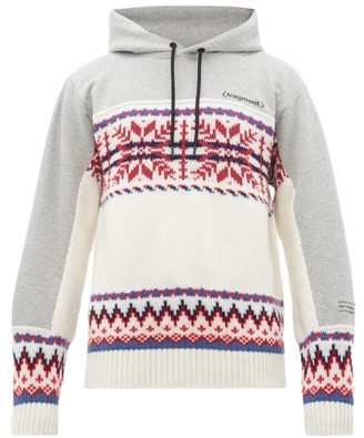 7 Moncler Fragment - Intarsia Wool-blend And Jersey Hooded Sweatshirt - White Multi