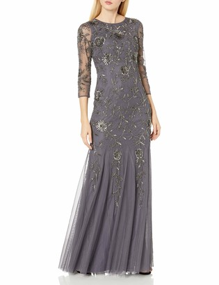 Adrianna Papell Women's L/s Beaded Mermaid Long Gown