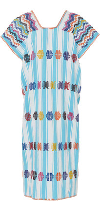 Pippa Holt Embroidered Striped Cotton Caftan