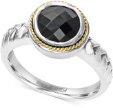 Effy Onyx (1-3/4 ct. t.w.) Braid Ring in Sterling Silver and 18k Gold