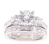 FINE JEWELRY 100 Facets by DiamonArt Cubic Zirconia Bridal Ring Set