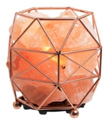 Sharper Image Himalayan Salt Crystal Lamp with Rose Gold Basket