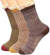 kilofly Women's Lace Trim Slouch Crew Socks Value Pack, Set of 3 Pairs