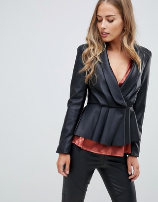 Asos Design DESIGN peplum leather look blazer with pleat detail-Black