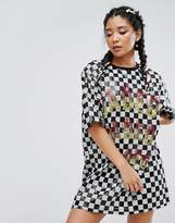 Jaded London Festival Sequin T-Shirt Dress In Checkerboard