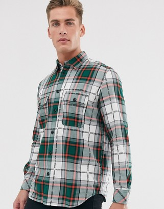 Diesel S-Miller-A all over logo check shirt in green