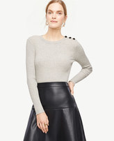 Ann Taylor Shoulder Button Ribbed Sweater