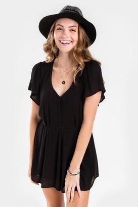 francesca's Lira Button Kimono Romper - Black