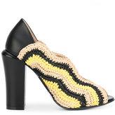 Fendi open-toe mules - women - Raffia/Calf Leather/Leather - 38