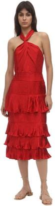 Johanna Ortiz Ruffled Satin Jacquard Midi Dress