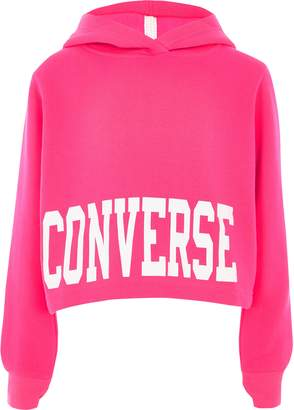 Converse River Island Girls bright Pink cropped hoodie
