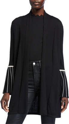 Elie Tahari Morgan Wool Sweater with Striped Sleeves