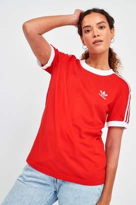 adidas Womens 3 Stripe T-Shirt - Red