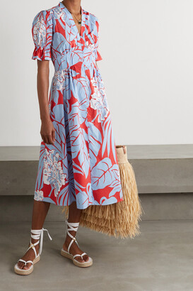 Diane von Furstenberg - Erica Gathered Printed Cotton Midi Dress - Blue