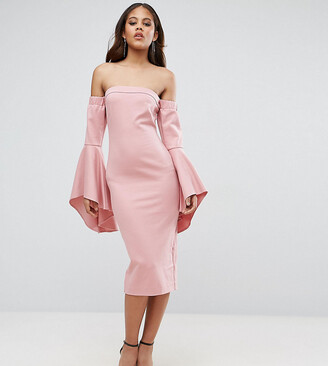 Taller Than Your Average TTYA BLACK Off Shoulder Midi Dress With Exagerated Fluted Sleeve Detail-Pink