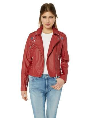 Yoki Women's Faux Leather Embroidered Moto Jacket Outerwear