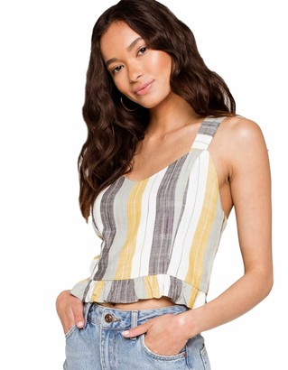 RVCA Junior's Key Woven Cropped Tank TOP