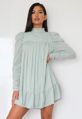 Missguided Sage Polka Dot High Neck Puff Sleeve Smock Dress