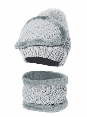 Bellady Winter Beanie Hat Scarf and Mask Set for Women Thick Warm Slouchy Knit Fleece Lined Skull Knit Cap Scarf Mouth Mask 3 Pieces - Grey - One Size