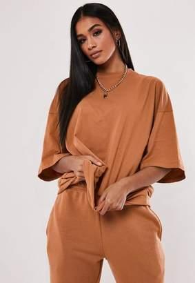 Missguided Tan Drop Shoulder Oversized T Shirt