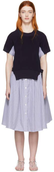 Sacai (サカイ) - Sacai ブルー and ホワイト ニット パネル ドレス