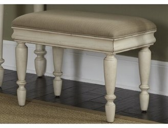 Charlton Homeâ® Warlick Upholstered Solid Wood Vanity Stool Charlton HomeA Upholstery: Beige, Color: Rustic white