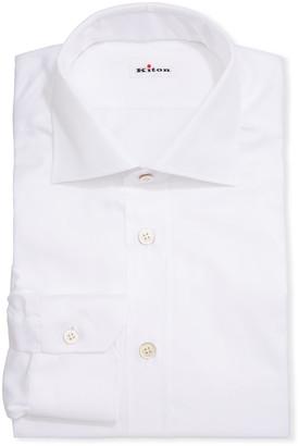 Slim 681 $600 Kiton Light Blue Solid Cotton Dress Shirt