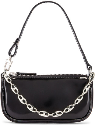 BY FAR Mini Rachel Semi Patent Leather Bag in Black | FWRD