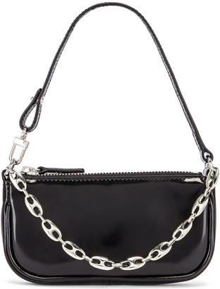 BY FAR Mini Rachel Semi Patent Leather Bag in Black | FWRD