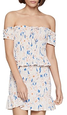 BCBGeneration Floral Smocked Off-the-Shoulder Top