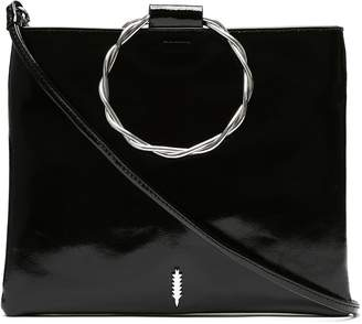THACKER Le Pouch Twisted Ring Handle Patent Leather Crossbody Bag
