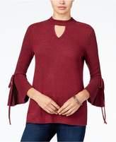 BCX Juniors' Bell-Sleeve Choker-Neck Sweater