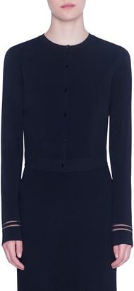 Akris Punto Tulle-Inset Button-Front Cardigan
