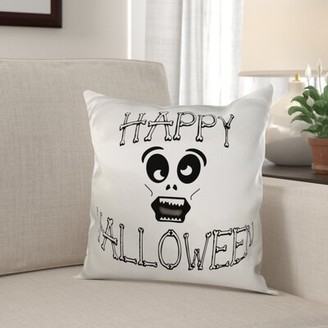 Mignone The Holiday Aisle Happy Halloween Bones and Funny Skull Face Pillow Cover The Holiday Aisle