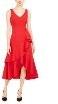 Taylor Ruffled High-Low Midi Dress