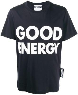 Moschino Slogan Print Crew Neck T-Shirt