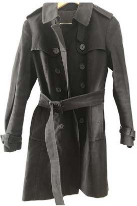 Country Road Black Cotton Trench Coat for Women