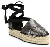 Bottega Veneta Intrecciato Metallic Leather Lace-Up Espadrilles