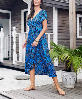 Reborn Collection Women's Maxi Dresses Blue - Blue & White Floral Tulip Hem Midi Dress - Women & Plus